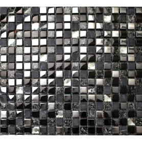 MOSAIQUE  NOIRE EN VERRE&PIERRE NATURELLE/30X30/1m²-BT